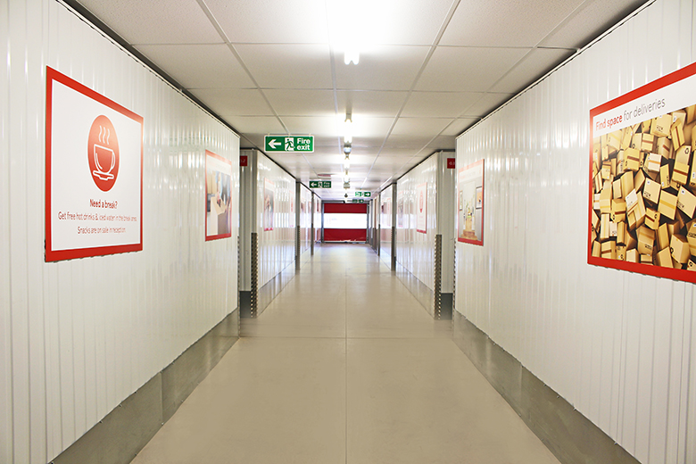Wide self storage corridor